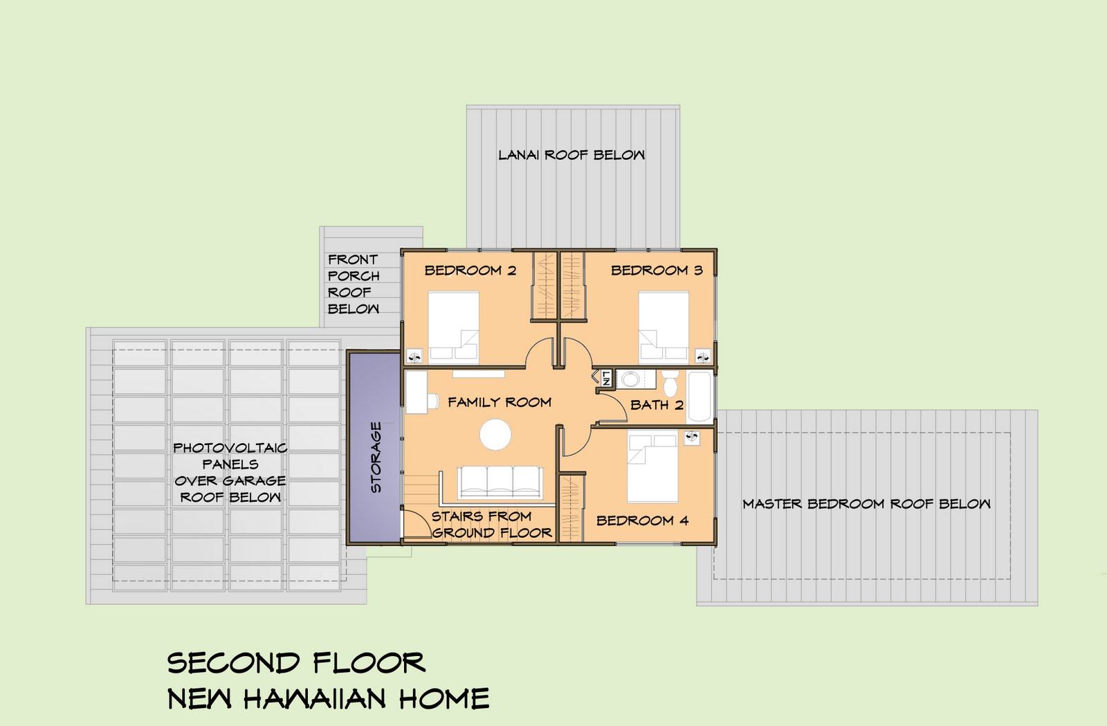 New hawaiian home nhh second floor plan for Hawaiian house plans