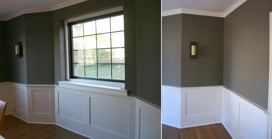 How to transform the personality of a room with just paint for Dining room wainscoting