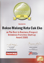 """Bakso Malang Kota """"Cak Eko"""" Dinobatkan Sebagai Bisnis Franchise Dengan Prospek Terbaik 2008"""