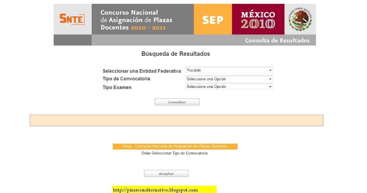 Pizarr n alternativo resultados del concurso nacional de for Concurso para plazas docentes