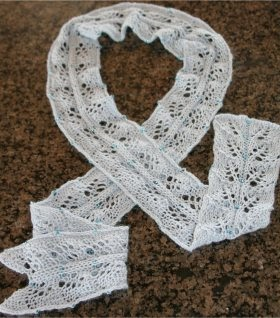 Scarf Knitting Patterns: Twin Leaf Beaded Scarf Free Knit ...