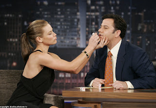 Evangeline Lilly Beautifies Jimmy Kimmel with CARGO Lipstick