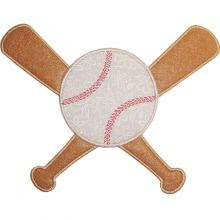 Baseball bats and Ball Applique