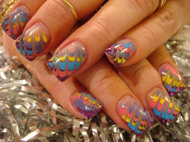 nail art design with gel paint