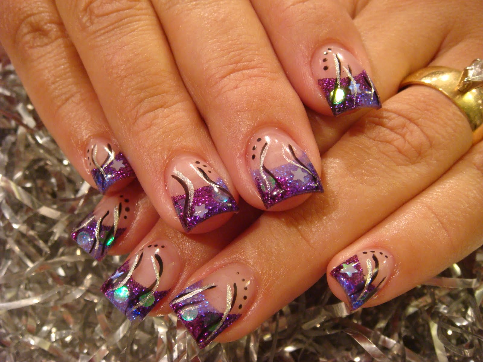 Old Fashioned Purple Silver Nails Motif - Nail Art Design Ideas ...