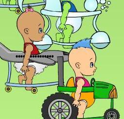 Customise o bebê, escolha uma valor para a operação de multiplicação e tente vencer a corrida.