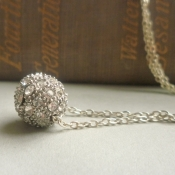 Vintage chandelier diamond ball necklace