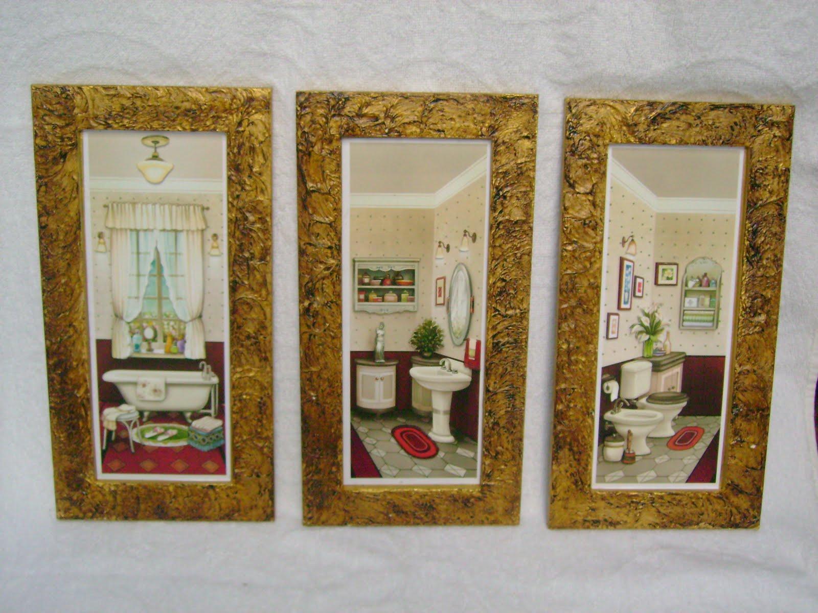 Kit Quadros para Banheiro Thoque Mágico medem aproximadamente 30 x  #6C4519 1600 1200