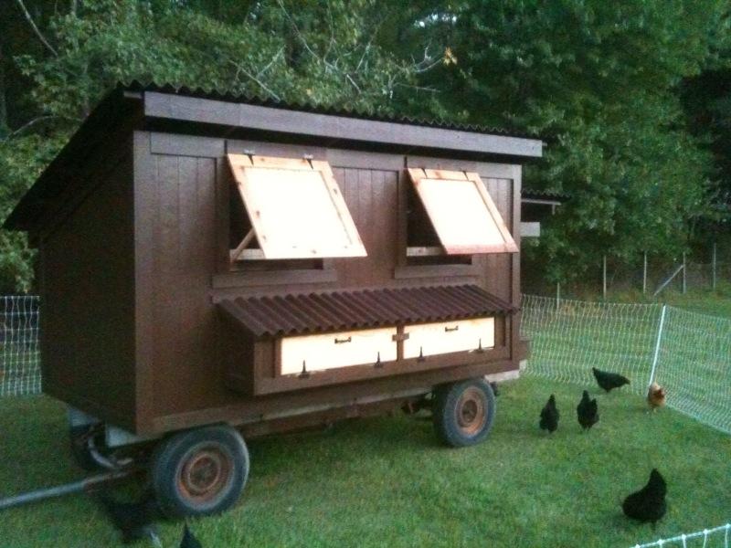 Back bay botanicals eggmobile the great reveal for Moving chicken coop plans