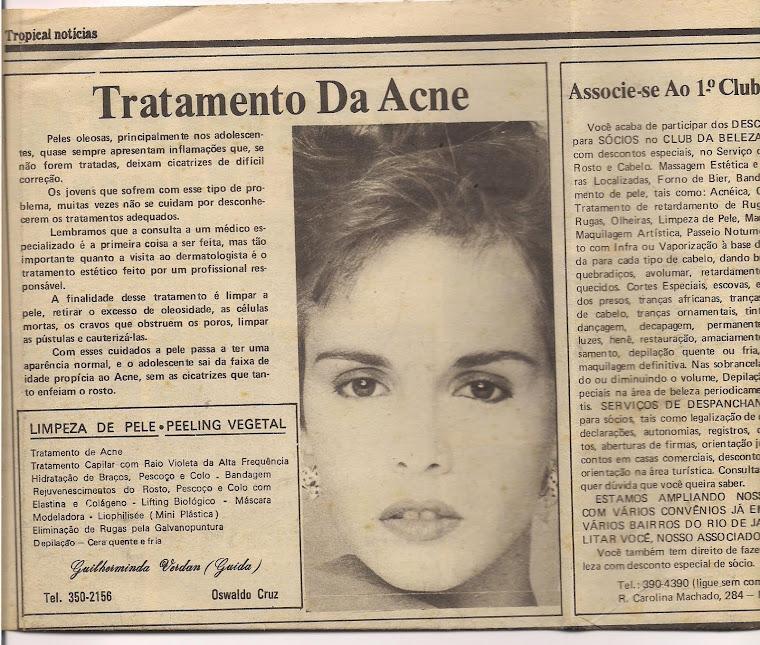 Ilustrando a propaganda sobre Acne no Jornal Tropical Notícias