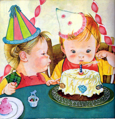 Cartoon of cute babies cutting cake on bithday photo