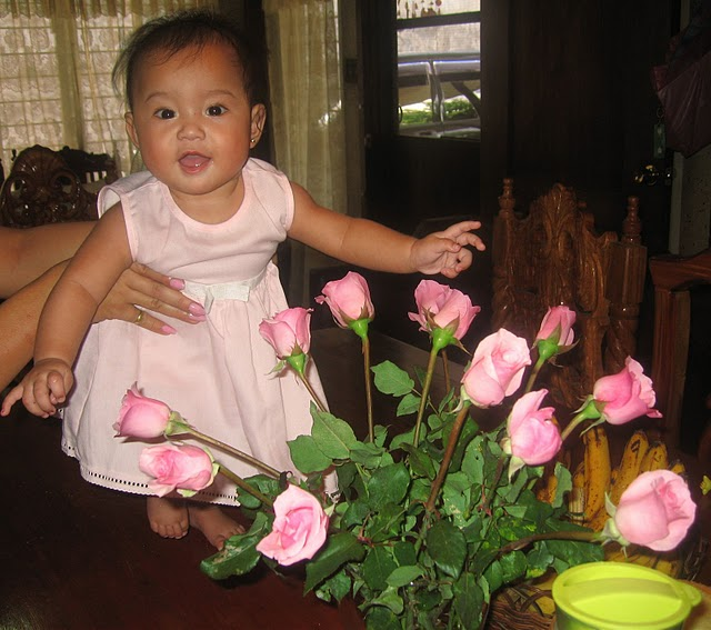 Cute Baby girl with flowers desktop wallpaper
