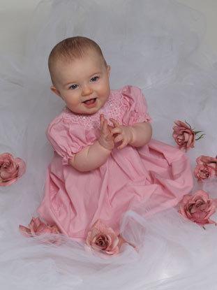 Baby girl sitting in flowers