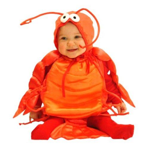 Cute baby boy in lobster costume