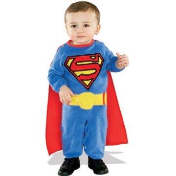 Cute baby boy in super man costume
