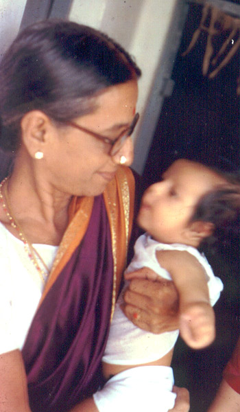 Actor Srikanth baby boy with his grand mother photo