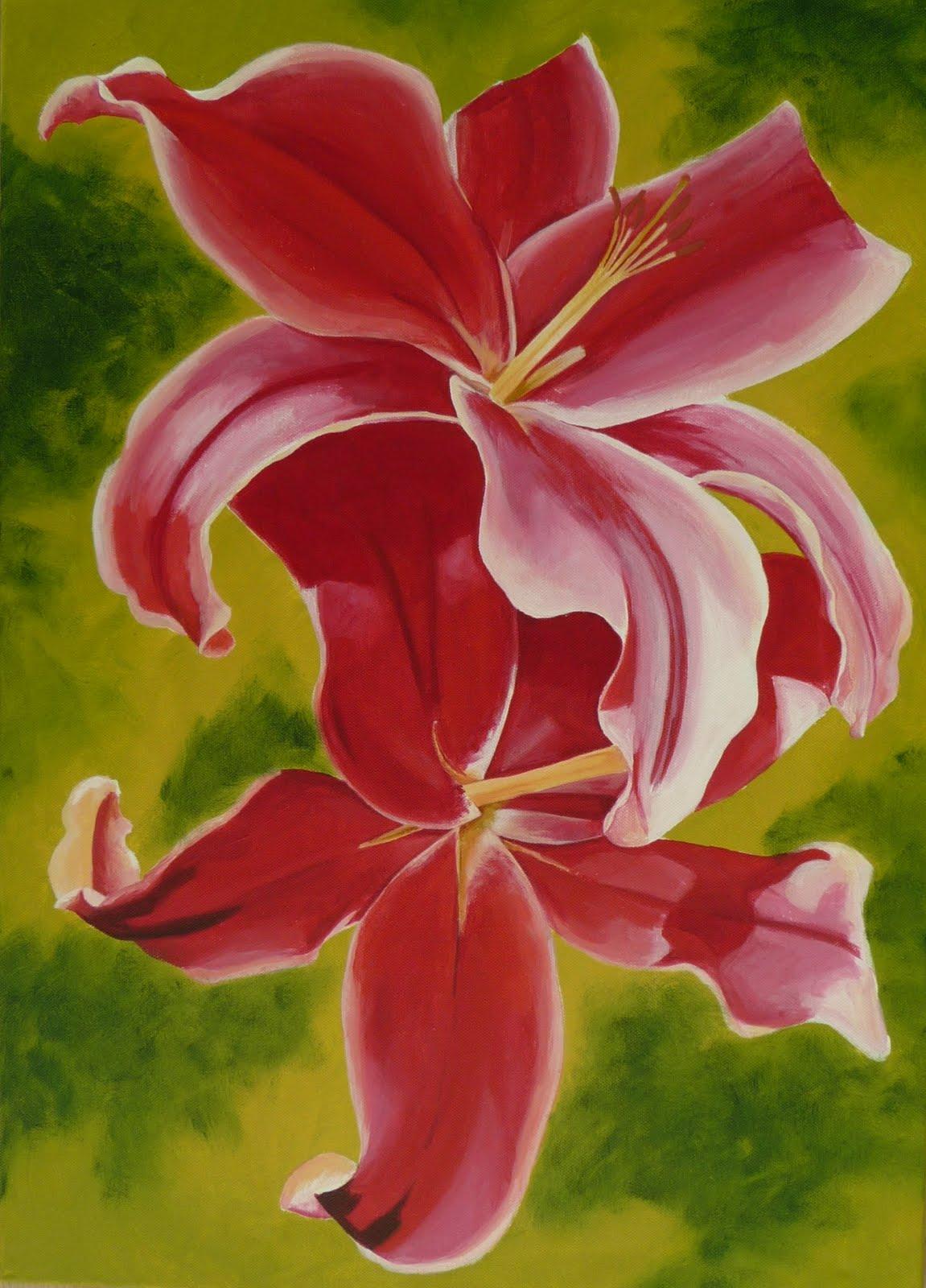 Schilderijen van Orchideeën (en andere bloemen): Grote roze lelies ...