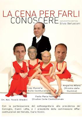 Berlusconi Ghedini Alfano e due giudici Costituzionali a cena