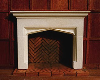 The tudor medieval jacobean queen anne dollhouse for Tudor fireplaces