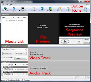 VideoPad main screen editing navigation