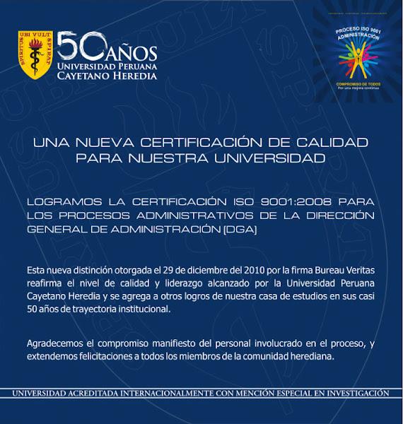 CERTIFICACION DE CALIDAD PARA NUESTRA ALMA MATER LA UNIVERSIDAD PERUANA CAYETANO HEREDIA