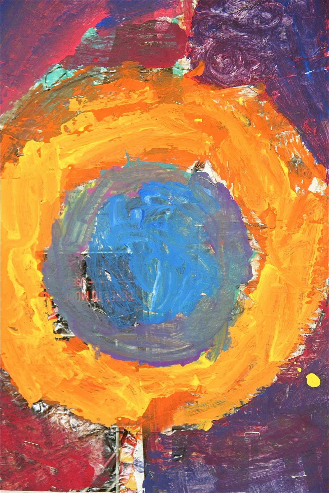 One 4th grader's approach to a target painting — inspired by Jasper Johns, but clearly marked by his or her own individuality.