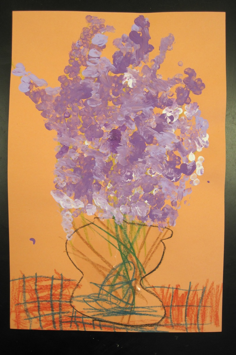 There's a Dragon in my Art Room: Lovely Lilacs - Q-tip Paintings by 1st  grade