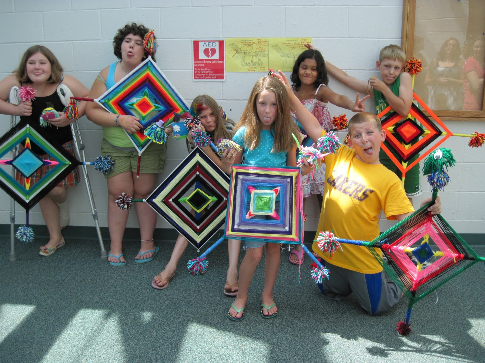 Arts And Crafts Ideas For Kids Summer Camp Part - 45: We Had A Great Week Making Giant Ojo De Dios (Godu0027s Eyes) And Pompom  Critters, And Learning To Make A Japanese Kumihimo Braid. The Kids Ranged  From Those ...