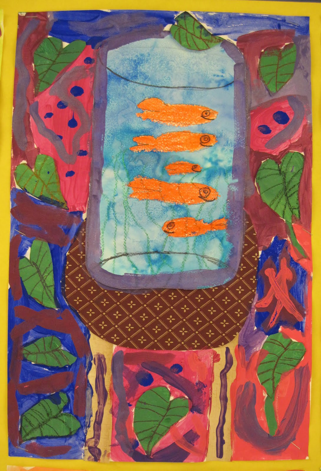 my 4th graders are still completing their of the art room matisselike still life but the 2nd grade is done with their fishbowl artwork