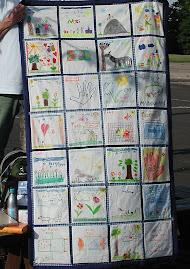 """Mein 1.: Abschlussquilt """"Picknick"""" im Sommer 2007 für den Klassenlehrer meiner Tochter."""