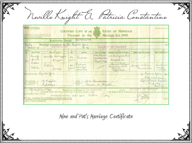 Marriage Cert Of Neville Knight and Patricia Constantine