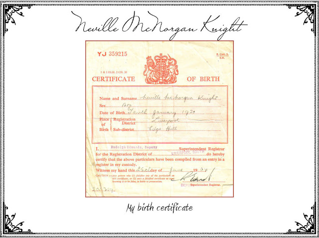 Neville McNorgan Knight Birth Certificate