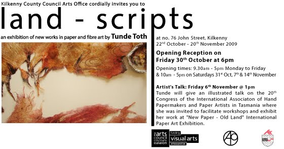 INVITATION to 'Land - Scripts' - solo exhibition of new works in paper art by Tunde To
