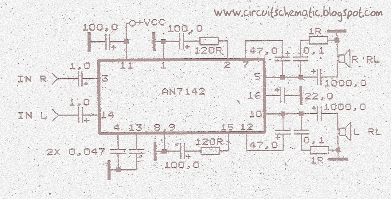 stereo amplifier circuit with ic an7142 ~circuit diagram