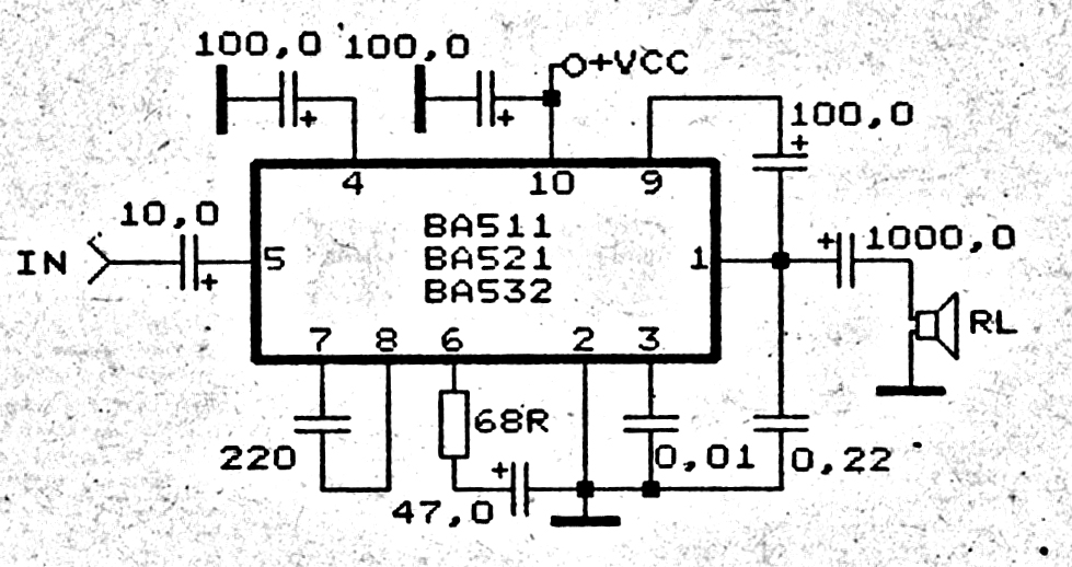 car amplifier circuit with ic ba532