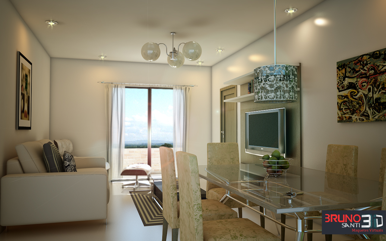#5E4B32  Eletronica Bruno Santi 3D: Projeto m² Sala Quarto e Cozinha 1280x800 px Projeto Cozinha E Quarto #2511 imagens