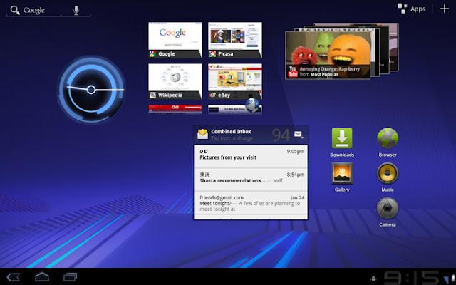 Google Android 3.0 Honeycomb - tela principal