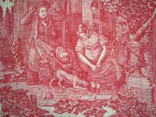 Toile de Rouen pelmet c1825