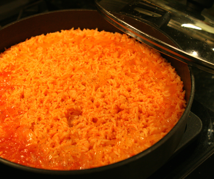 Spanish rice - it looks very orange doesn't it?}