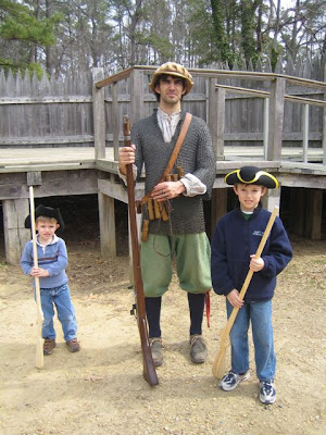 17th century settler with musket 