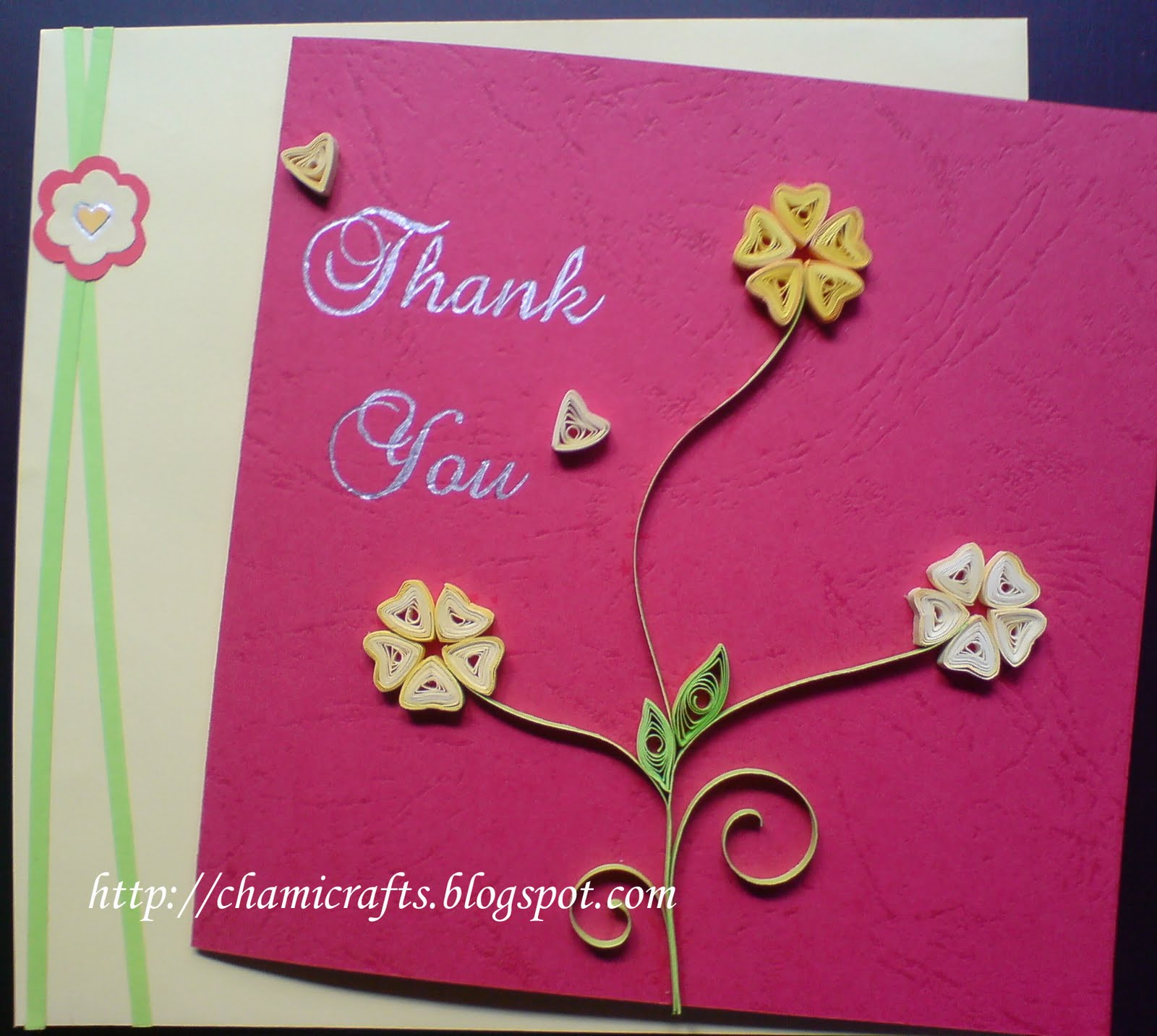Chami crafts handmade greeting cards quilled thank you card tc001r kristyandbryce Image collections