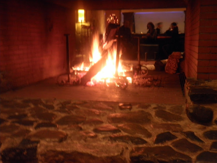 log fire at the hotel
