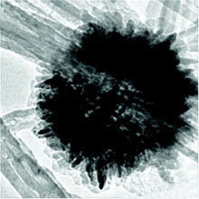 Nanoflower power: A transmission electron microscope image shows a flowerlike manganese oxide nanoparticle deposited at the junction of crossed carbon nanotubes. Used as an electrode material, this nanotube-manganese-oxide composite could improve the energy-storage ability of ultracapacitors, which show promise as powerful, long-lasting replacements for batteries. Credit: American Chemical Society