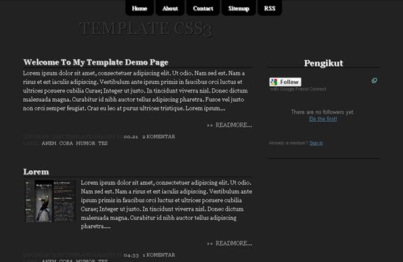 Black CSS3 Blogger Template is free template with 2 Columns layout,Menu,Black,CSS3,Right Sidebar, Auto Readmore|Smart template