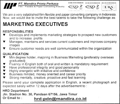 Posisi : Executive , Marketing
