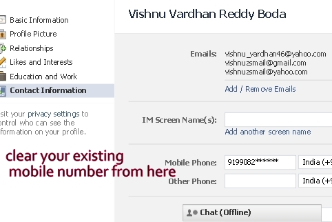 how to delete email and mobile phone number in facebook