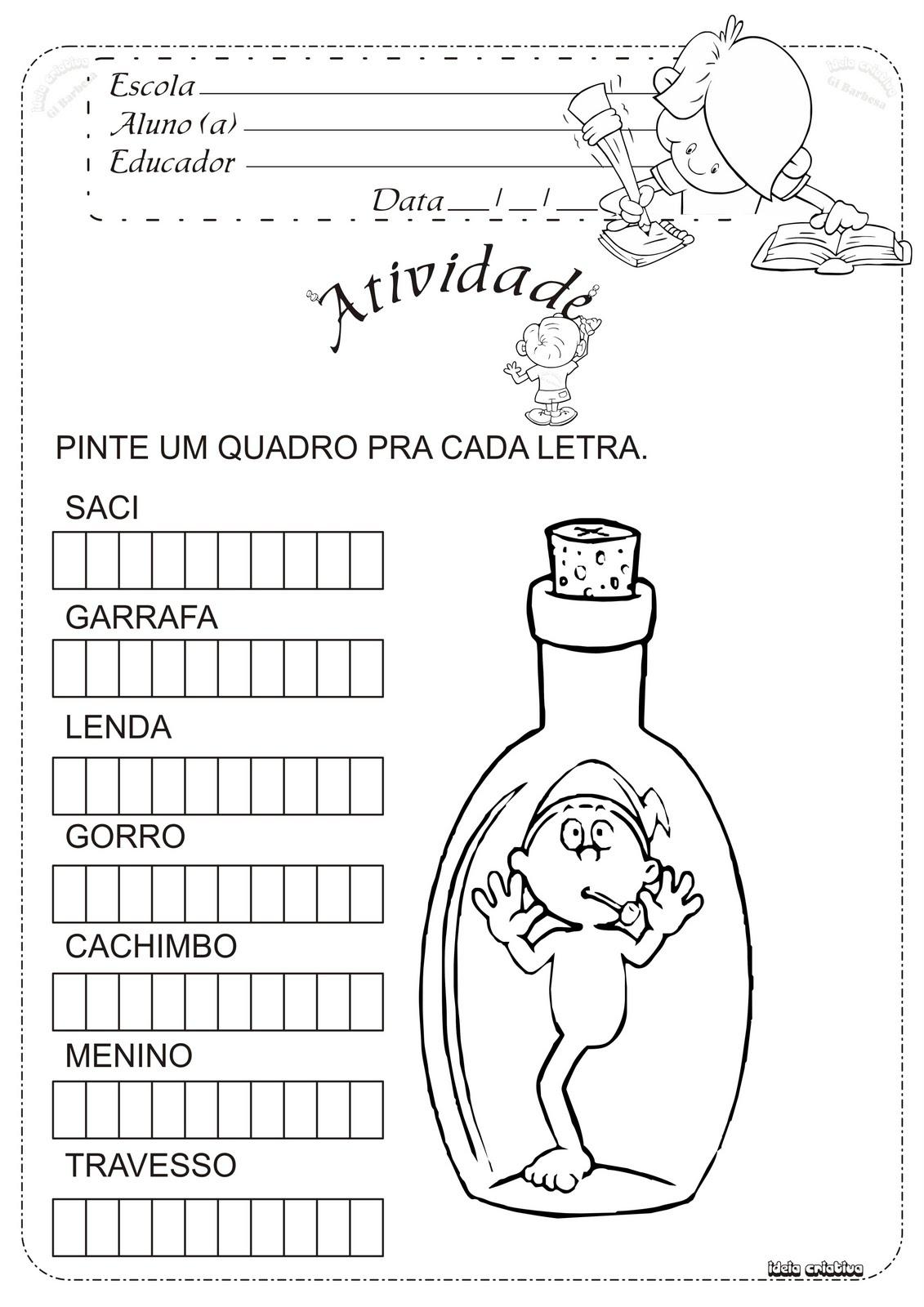 Atividade Folclore Saci na garrafa.