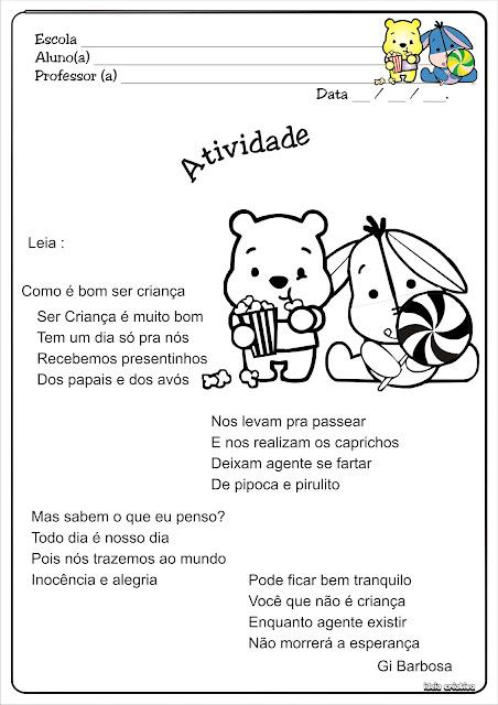 Texto Dia das Crianças Com Ursinho