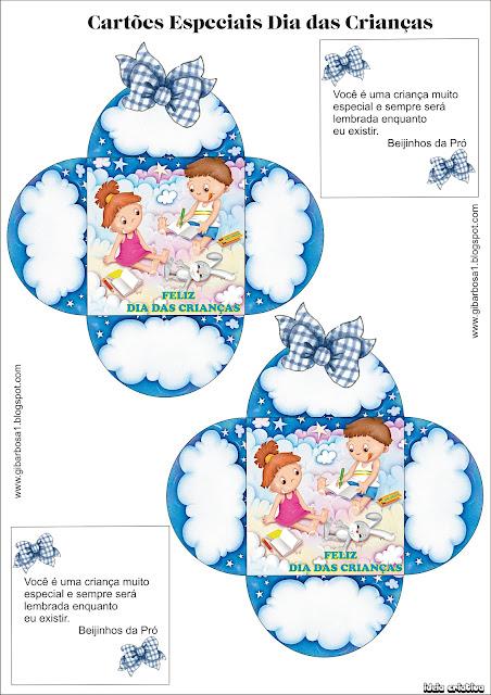 Lembrancinha Dia das Crianças -  Cartõezinhos Especiais com Envelopes e molde.