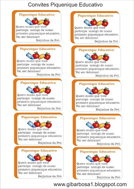 Convites Piquenique Educativo lápis